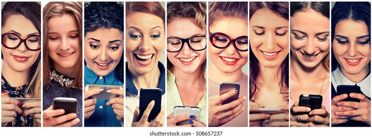 Multiethnic group of happy young women using their phones sending sms. Positive human emotion face expression