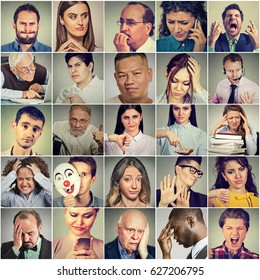 Multiethnic group of negative frustrated, sad, desperate, stressed people