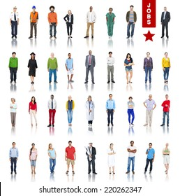 Multiethnic Group of Peoole in Various Jobs Concept