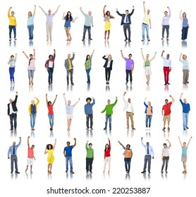 Multiethnic Group of People Arms Raised and Celebration