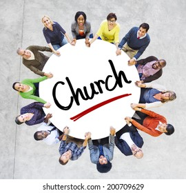 Multi-Ethnic Group of People and Church Concepts