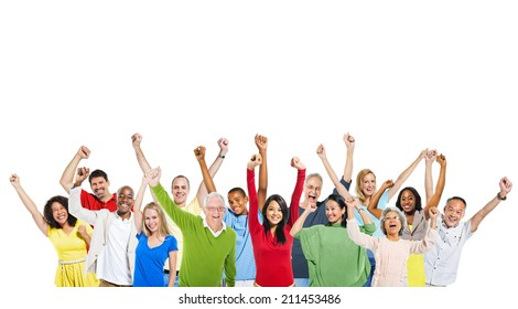 Multi-Ethnic Group Of People Expressing Positivity And A Copy Space Above