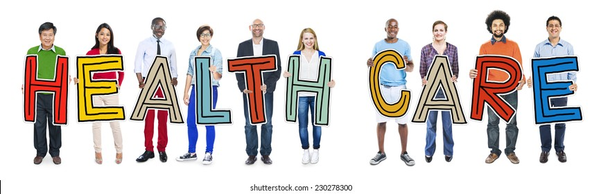 Multiethnic Group of People Holding Letter Health Care