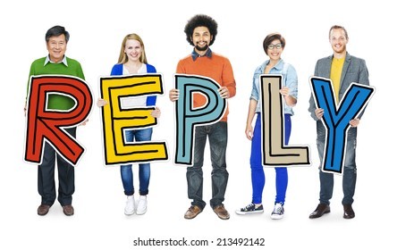 Multiethnic Group of People Holding Word Reply
