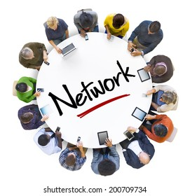 Multi-Ethnic Group of People and Network Concept