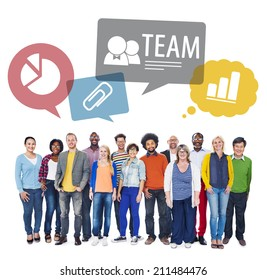 Multiethnic Group of People as a Team on Isolated White.