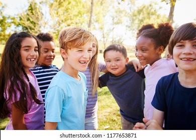 Multi-ethnic group of schoolchildren on a school trip