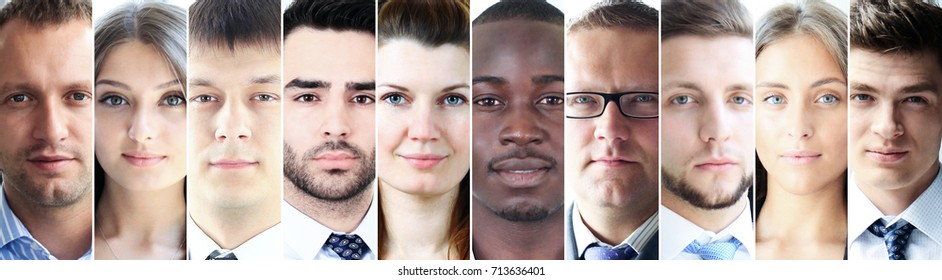 Multiethnic group of serious people looking at you