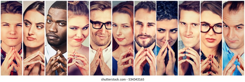 Multiethnic group of sneaky, sly, liar people women and men plotting something. Human emotions, facial expressions, attitude