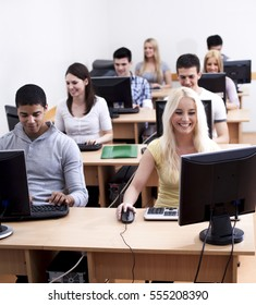 Multiethnic group of students in the computer lab.