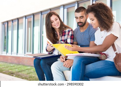 Multi-Ethnic group of students in School Campus