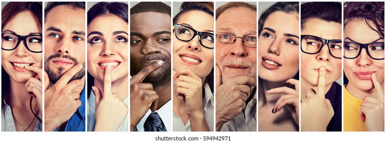 Multiethnic group of thoughtful men and women. People's thoughts concept