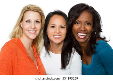 Multiethnic group of woman isolated on white background