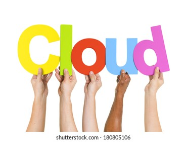 Multi-Ethnic Hands Holding Colorful Letters To Form Cloud