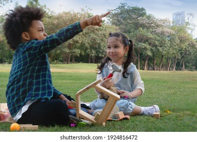 Multi-ethnic kids play together in the park, warm relationship between children