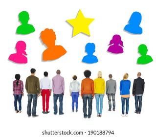 Multiethnic People Facing Backwards with Human Symbols