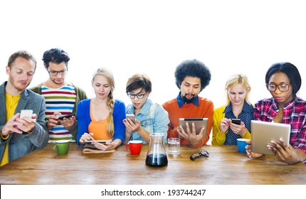 Multi-Ethnic People Social Networking