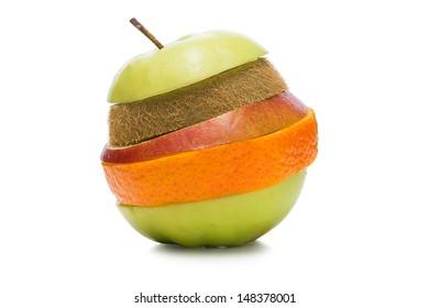 Multifruit made of sliced pear,apple,kiwi and orange. On the white background