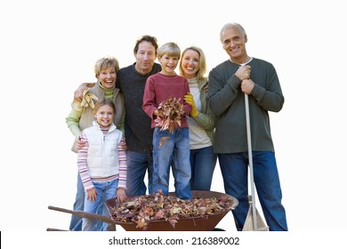 Multi-generational family in autumn, smiling, portrait, cut out