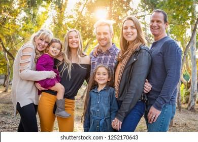 Multigenerational Mixed Race Family Portrait Outdoors.