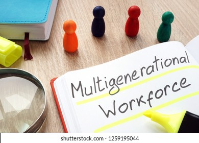 Multigenerational workforce written by pen on a note.