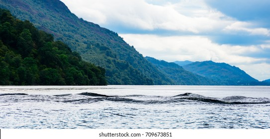 Multi-humped Monster-shaped waves on Loch Ness, Scotland.  Waves left by a boat; due to the darkness of the water the waves form a shape and color that could suggest a multi-humped monster (Nessie).