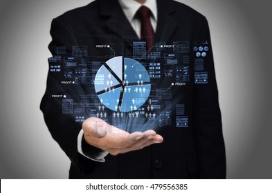 Multilevel Marketing business concept with businessman showing pie chart and people net work icons
