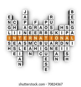 multilingual concept (3D crossword orange series)