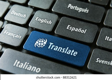 Multilingual translation on-line concept. Close up of multi language keyboard and translate word key in blue color with clipping path.