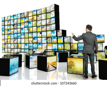 Multimedia concept with abstract cube television
