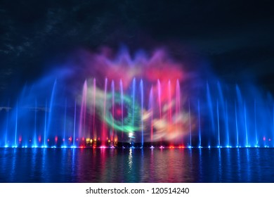 Multimedia fountain show in Wroclaw