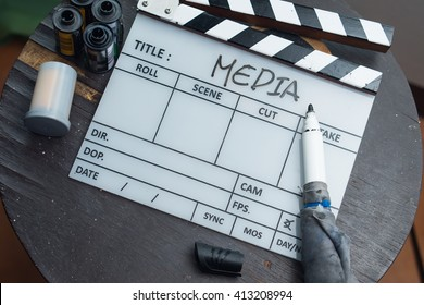 Multimedia Production clapperboard background movie motion picture slate