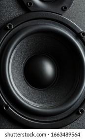 Multimedia speaker system speaker close-up on a black background.