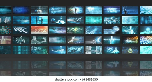 Multimedia Technology Concept for Digital Video Content Streaming 3D Illustration Render
