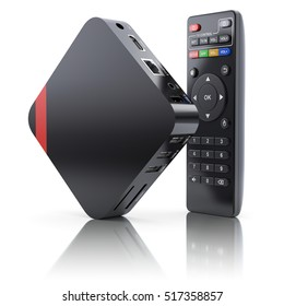 Multimedia and TV box receiver and player with remote controller - 3D illustration