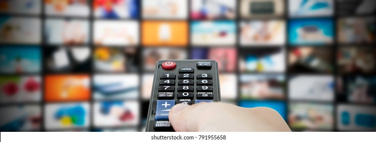 Multimedia video streaming web banner background. Television wall broadcasting concept