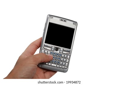 Multimedial personal digital smartphone in hand isolated on white background