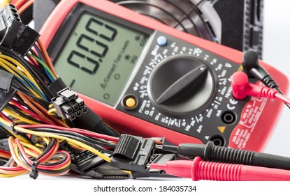 multimeter.measurement of the voltage in the power supply