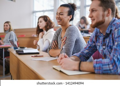 Multinational group of students in an auditorium