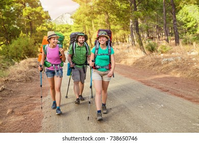 Multinational group of young happy friends students traveling along the Lycian trail with backpacks at the coastal road in the forest. Hiking and trekking in Turkey concept