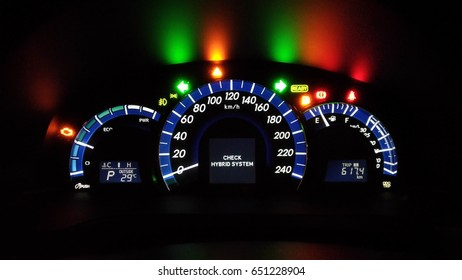 Multiple Alarm Signs And Lights Show On Car Dashboard With Hybrid Problem  Caution