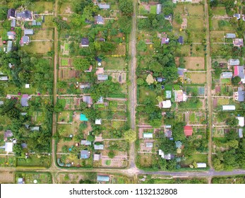 Multiple allotment gardens with little arbors, greenhouses, trees and bushes, aerial view.