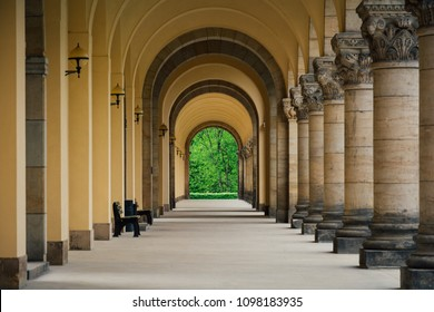 Multiple arches and benches taken inside Sudfriedhof (South Cemetery), Leipzig, Germany