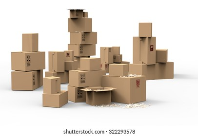 Multiple brown cardboard packing boxes in a variety of sizes stacked on on top of the other in a pile for storage, packaging for mail or removals