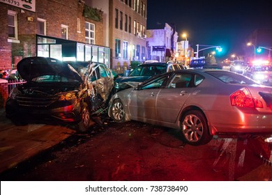 Multiple car crash night city emergency severe damage
