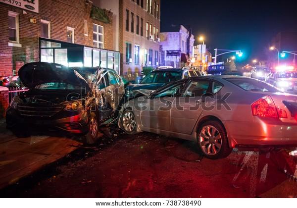 Multiple car crash night city emergency severe damage
