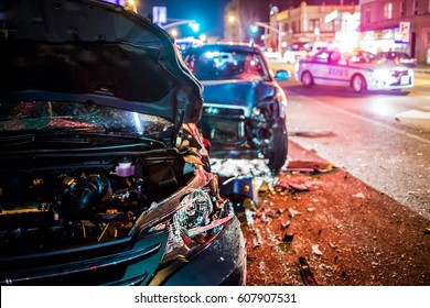 Multiple car crash road police night city