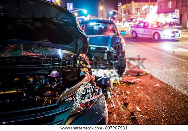 Multiple car crash road police night city