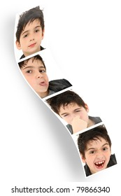 Multiple child faces and expressions on photo booth strip over white.