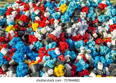 multiple color false flower on the floor